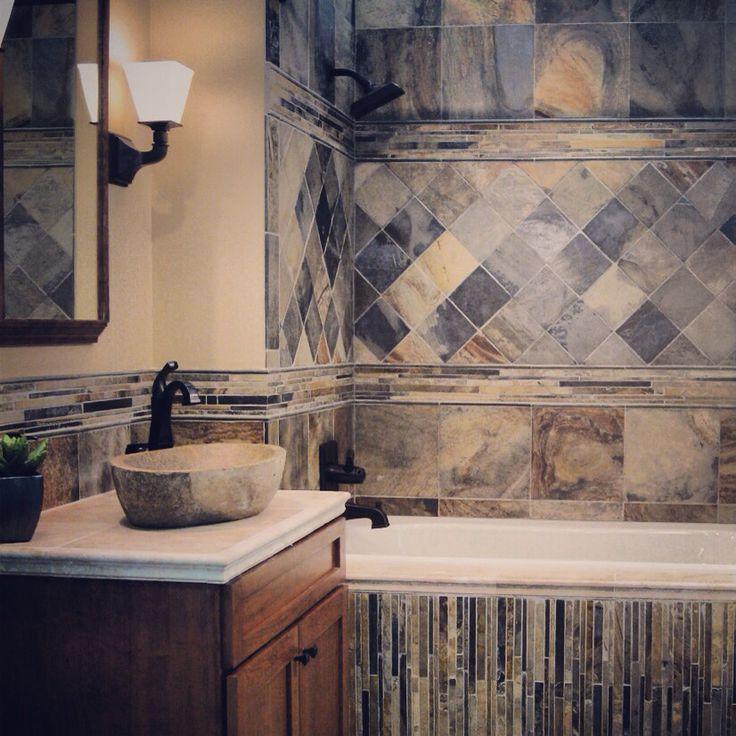 Slate Bathroom Modern Bathrooms And Rustic: Rustic Slate Bathroom. #thetileshop