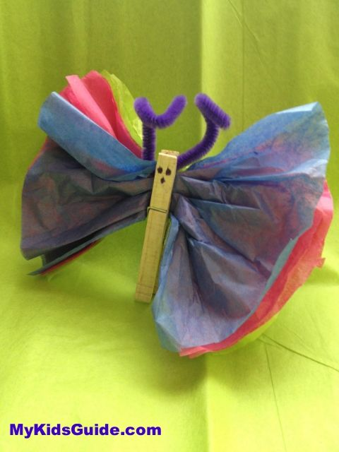Easy easter crafts for kids diy tissue paper butterflies for Paper art butterfly