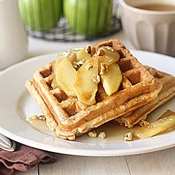 Spiced Apple Walnut Waffles with caramelized apples and cider syrup.