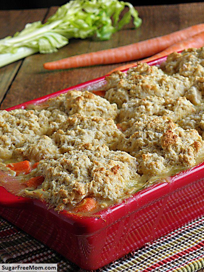 Gluten Free Chicken or Turkey Biscuit Pot Pie/ sugarfreemom.com