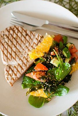 Grilled Tuna with Wakame Garden Salad and Yuzu Vinaigrette