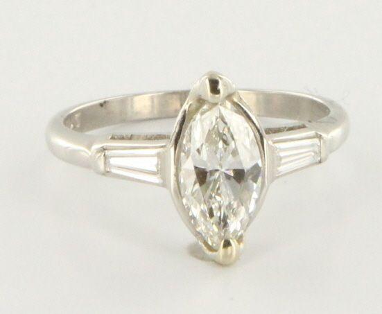 Estate Platinum Diamond Engagement Ring Fine Bridal Jewelry Pre Owned