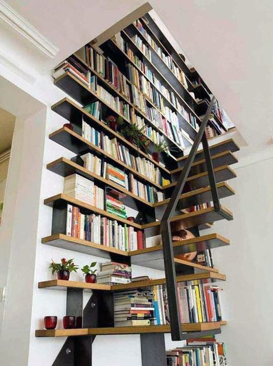 Stairs into bookshelf stairway to my heart pinterest - Staircases with integrated bookshelves ...