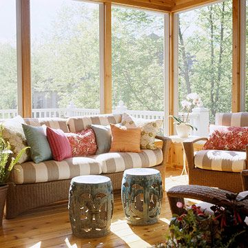 House tours a pretty and practical home Comfortable sunroom furniture