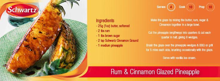 Serve hot Rum & Cinnamon Glazed Pineapple with cool vanilla ice-cream ...