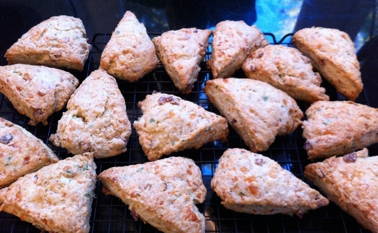 Berry scones, cheddar apple scones, peach cobbler scones, and/or bacon ...