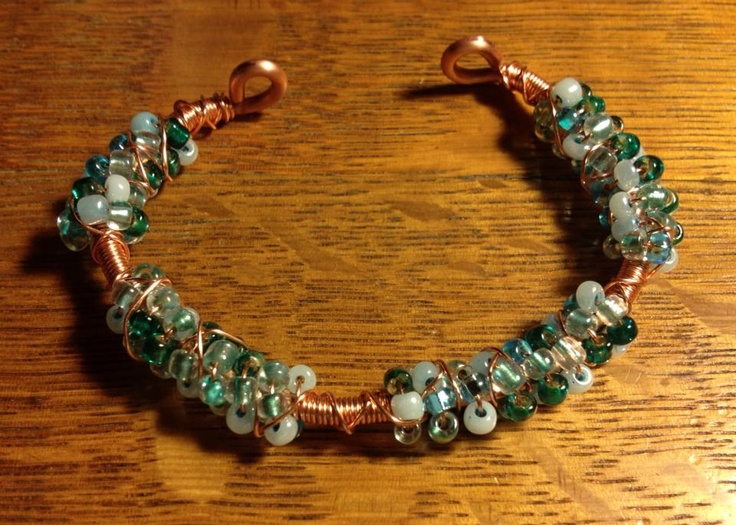 hand made copper bracelet wrapped with czech glass beads and copper ...