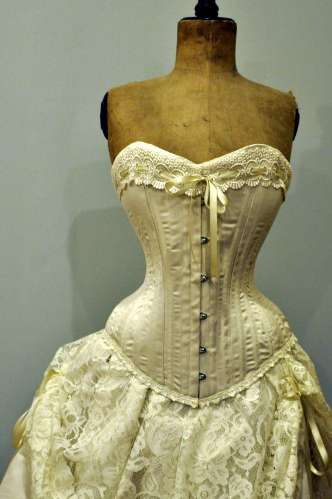 ivory wedding dress silk corset and bustle skirt