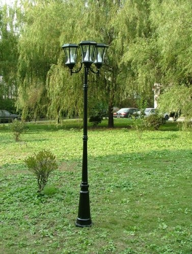 ft tall solar lamp post with three heads for front yard near curb. Black Bedroom Furniture Sets. Home Design Ideas