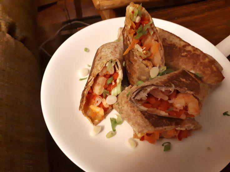 Jerk Shrimp Wraps with Mango Slaw