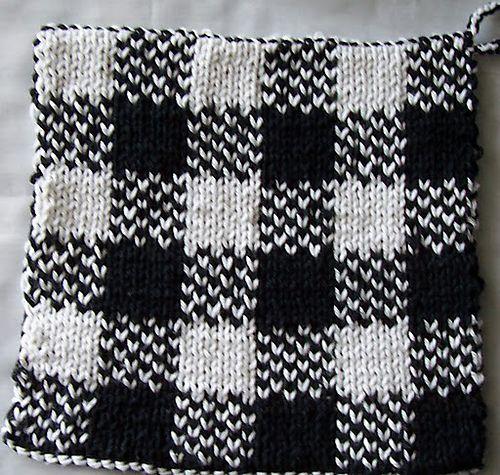 Knitted Potholder Pattern Double : Double knit pot holder Double knitting Pinterest