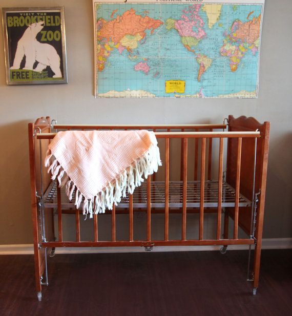 vintage baby crib maple wood with painted flowers kroll krib