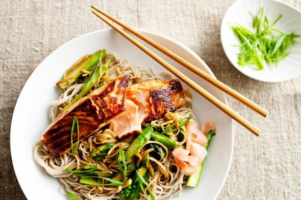Teriyaki salmon with soba noodles and asparagus - cooking this with ...