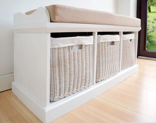 Tetbury Hallway Bench White Hallway Storage Bench With Cushion Hang