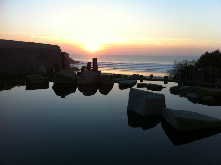 #Sunset over the pool and into the sea #Cornwall