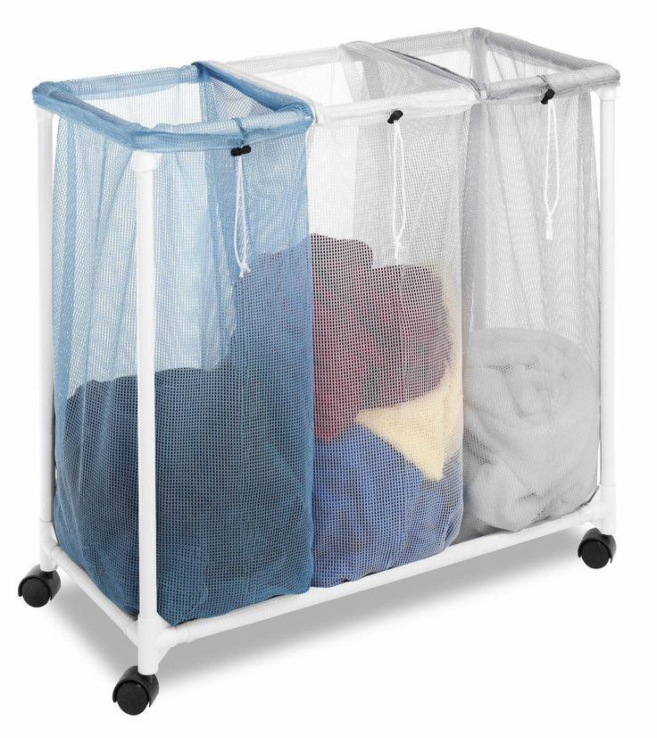 Triple mesh laundry sorter hamper wheels rollers 3 bags basket storag - Laundry hamper wheels ...