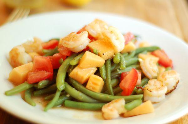Green Bean Salad --shrimp, green beans, tomato, cantaloupe, balsamic ...