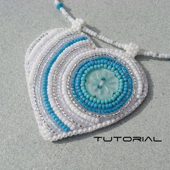 Bead embroidery tutorial button heart pendant beading