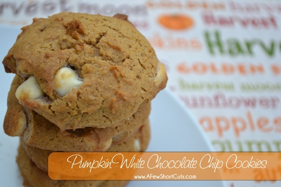 Pumpkin White Chocolate Chip Cookies | All Yummy/Recipes | Pinterest