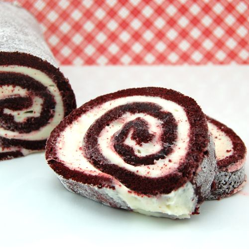 Red Velvet Cake Roll with cream cheese frosting filling