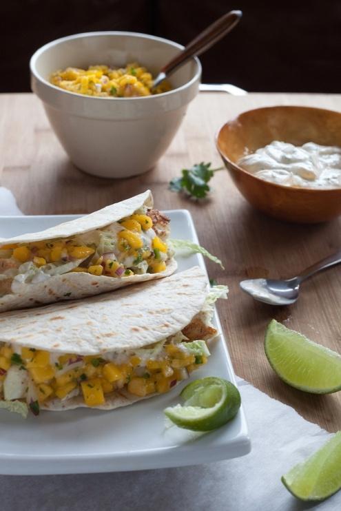 Halibut Tacos with Lime Cilantro Cream and Mango Salsa » lesleystowe ...