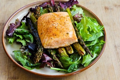 ... Recipe for Roasted Salmon and Asparagus Salad with Mustard Vinaigrette