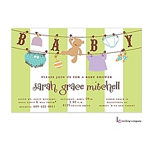 baby s laundry line shower invitation with cute clothes and teddy bear