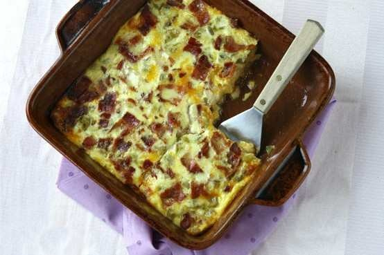 GREEN CHILE, CHEESE, BACON AND EGG BAKE | recipes to try | Pinterest