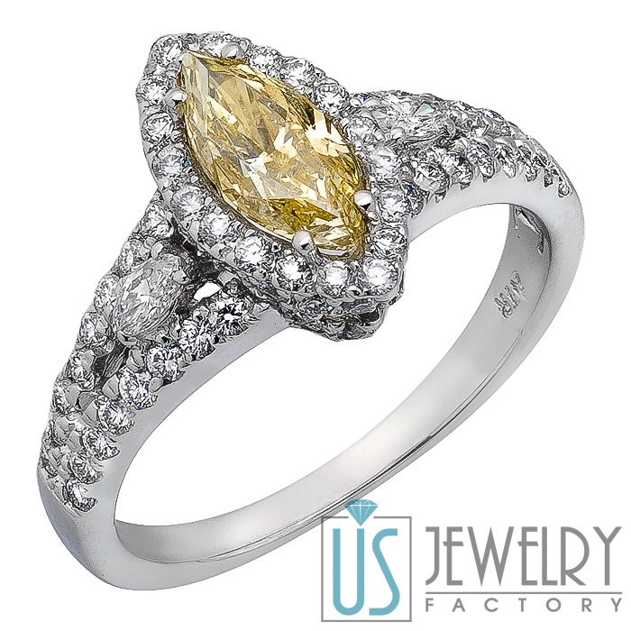 Canary Yellow Marquise Diamond Engagement Ring w Round & Marquise Si…