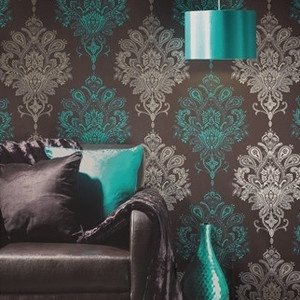 Nikita feature wallpaper modern damask pink and white for Teal wallpaper living room