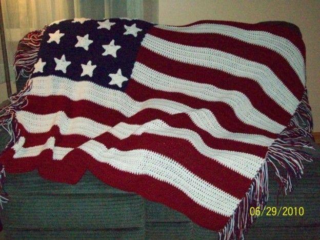 Knitting Pattern For American Flag Afghan : American Flag Afghan Crochet Ideas Pinterest