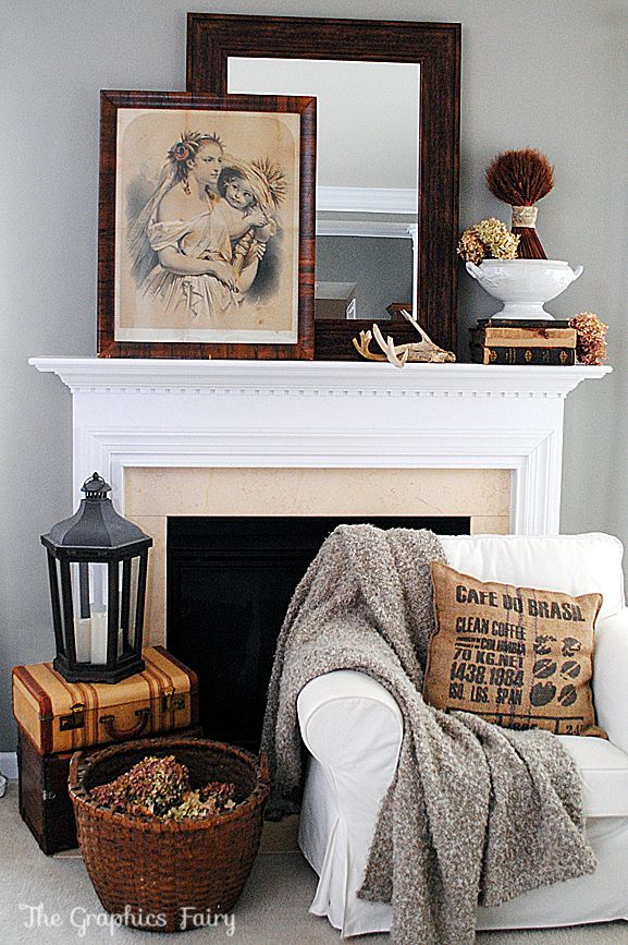 Fall Mantel Ideas using Vintage items! #Fall #Mantel #GraphicsFairy