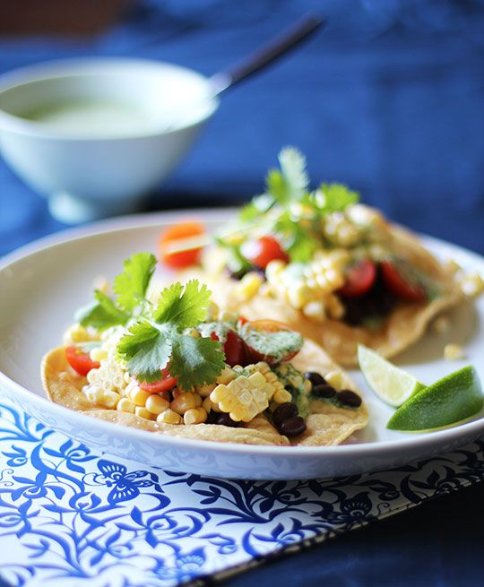 Corn, Tomato and Black Bean Tostadas with Creamy Cilantro Dressing ...