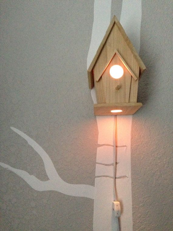 Bird house night light woodland nursery - Birdhouse nightlight ...