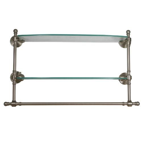 Retro Dot Polished Nickel 18 Inch Double Glass Shelf With Towel Bar A
