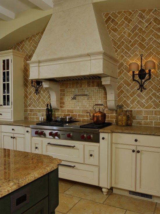 brick backsplash traditional kitchens pinterest