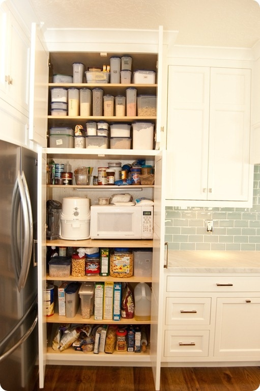 Microwave hidden in built in pantry smart home pinterest for Built in kitchen cupboards for a small kitchen
