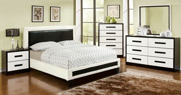 Pc Robles Collection Contemporary Style White And Black Padded