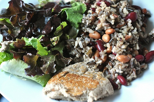 Wild rice, kidney bean, and pinto bean salad, toasted cashew cheese ...