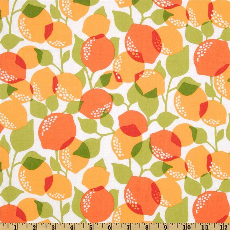 Michael Miller Sorbet Citrus Tree Creamsicle - Discount Designer ...