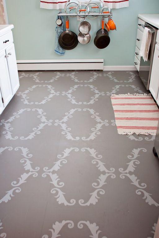 Stenciled Kitchen Floor Inspiring Diy Pinterest