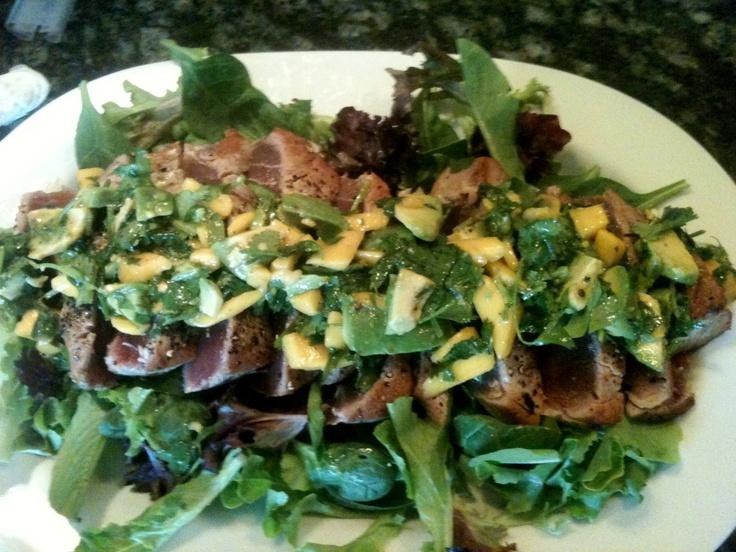 Pan-Seared Tuna with Avocado Salsa | Grub | Pinterest