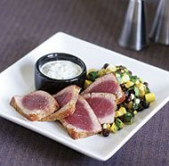 Cumin-Rubbed Tuna with Roasted Jalapeño Tartar Sauce http://www ...