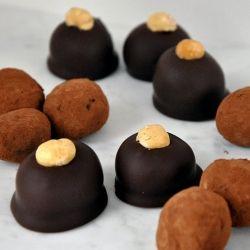 Frangelico dark chocolate truffles and Mayan spice dark chocolate ...