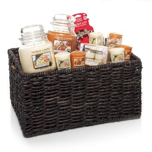 Candle gift basket simple christmas gifts pinterest for Christmas candle gift ideas