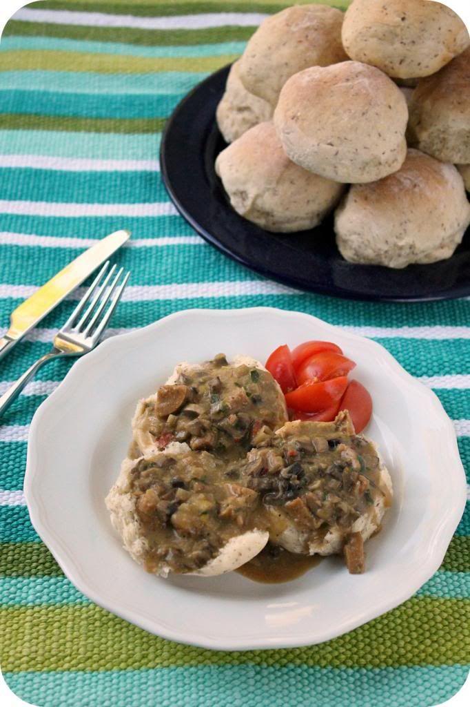 lightened up vegan biscuits and sausage mushroom gravy