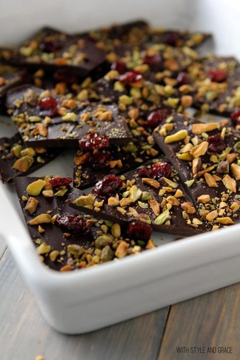 dark chocolate bark with pistachios, dried cranberries sea salt