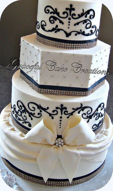 Elegant Ivory and Black Wedding Cake | Flickr - Photo Sharing!