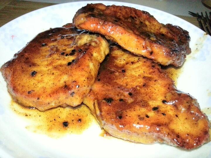 Pork Chop with orange marmalade, balsamic vinegar and broth reduction.