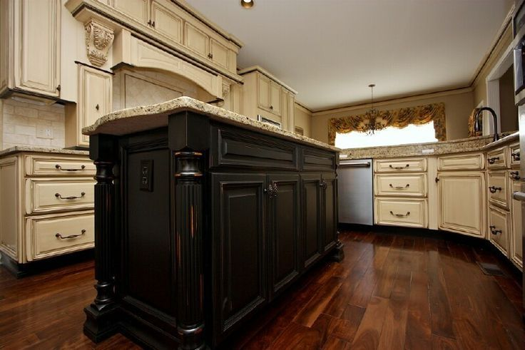 Pin by tamela jackson on for the home pinterest for Antique white kitchen cabinets with dark island